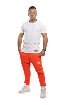 Oranž neon tepláky Biele tričko VIPSK